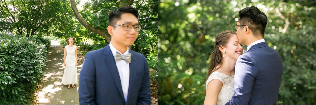 A Bride And Groom Meet For Their First Look At Queen Elizabeth Park By Clint Bargen