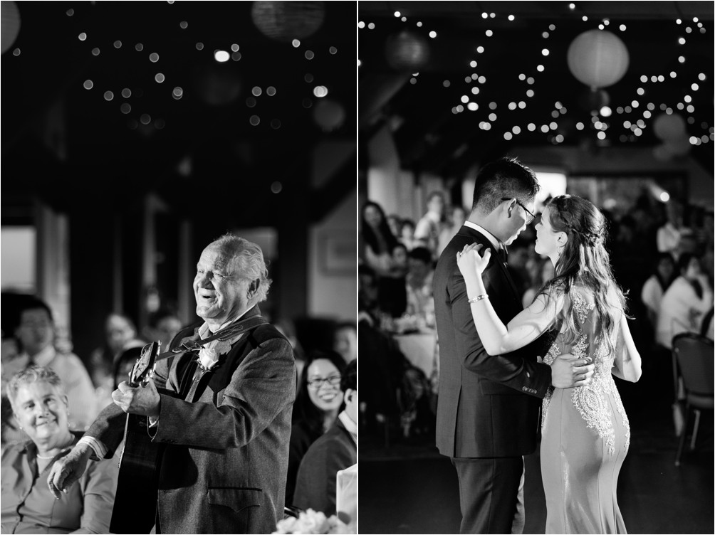 Diamond A Older Man Plays Guitar For Bride And Groom As They Dance The